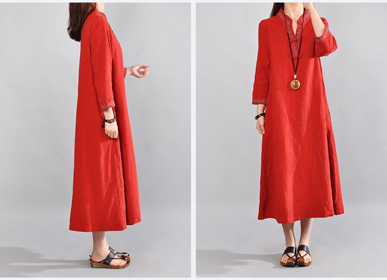Vintage Embroidery Seven-Sleeve Dress