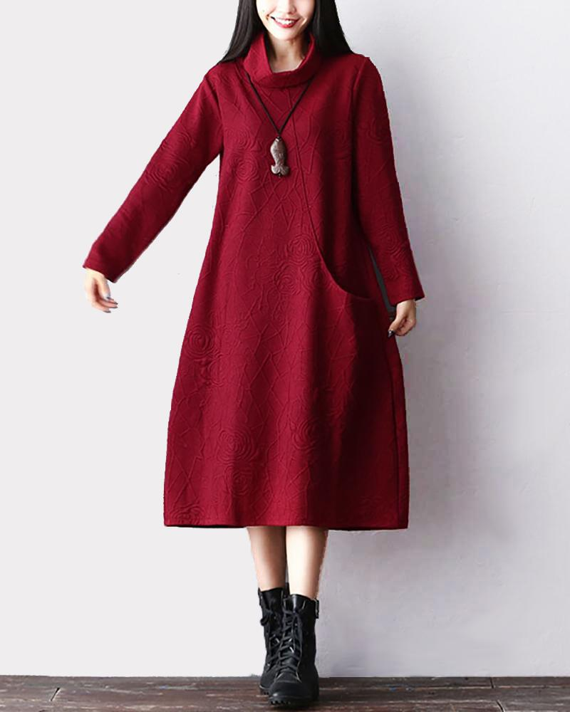 Loose Cotton And Linen Pocket Dress