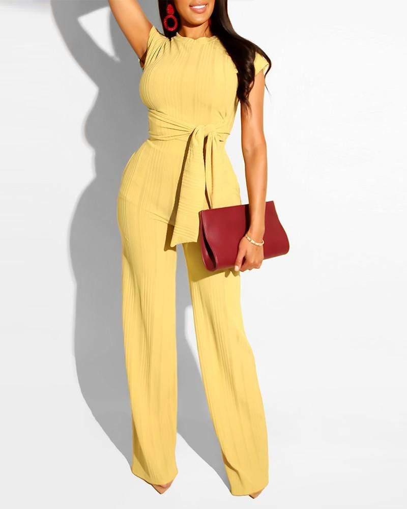 Exlura Two-piece Set Of Navel Casual Green Jumpsuit