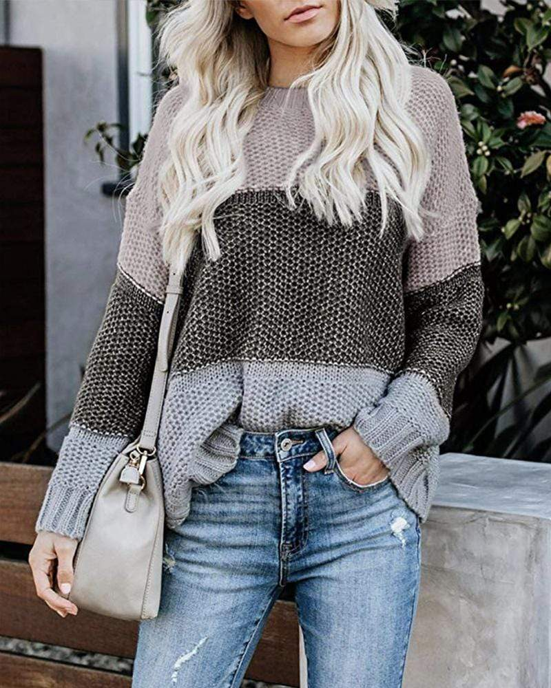Exlura Striped Contrast Color Knit Sweater