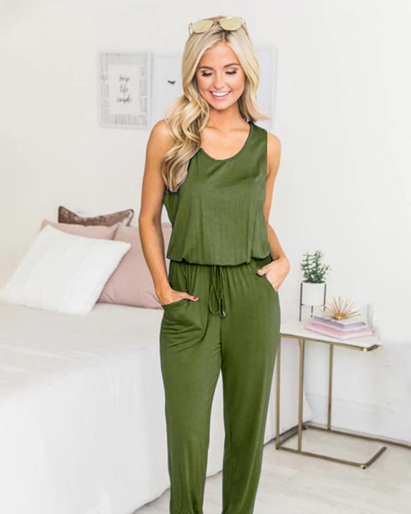 Sleeveless Strappy Solid Color Jumpsuit