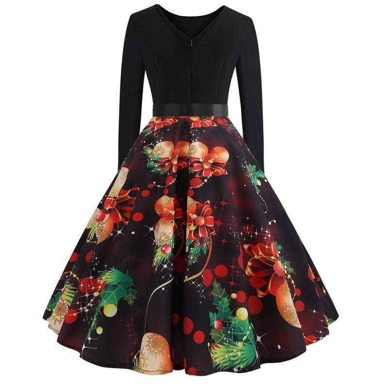 Exlura Christmas Print Big Swing Christmas Dress