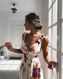 Sexy Sling Backless Holiday Floral Print Dress