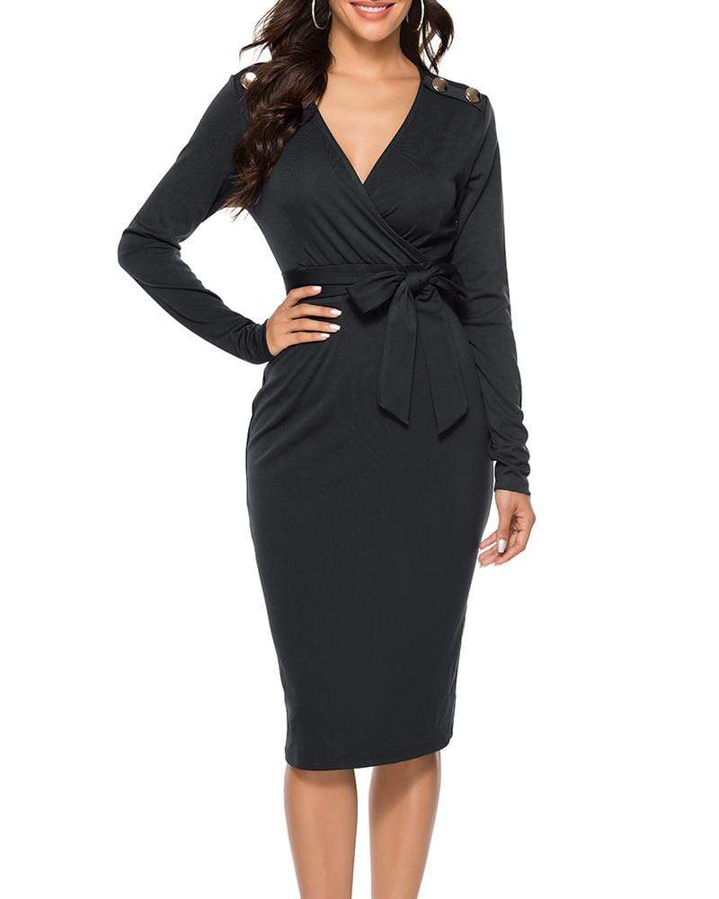 Exlura Sexy V-neck Long Sleeve Md-length Lace-up Dress
