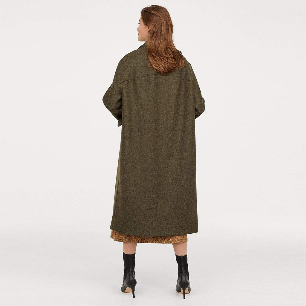 Exlura Vintage Double-breasted Lapel Loose Woolen Coat