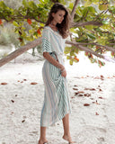 Striped Fringed Bohemian Beach Holiday Dress