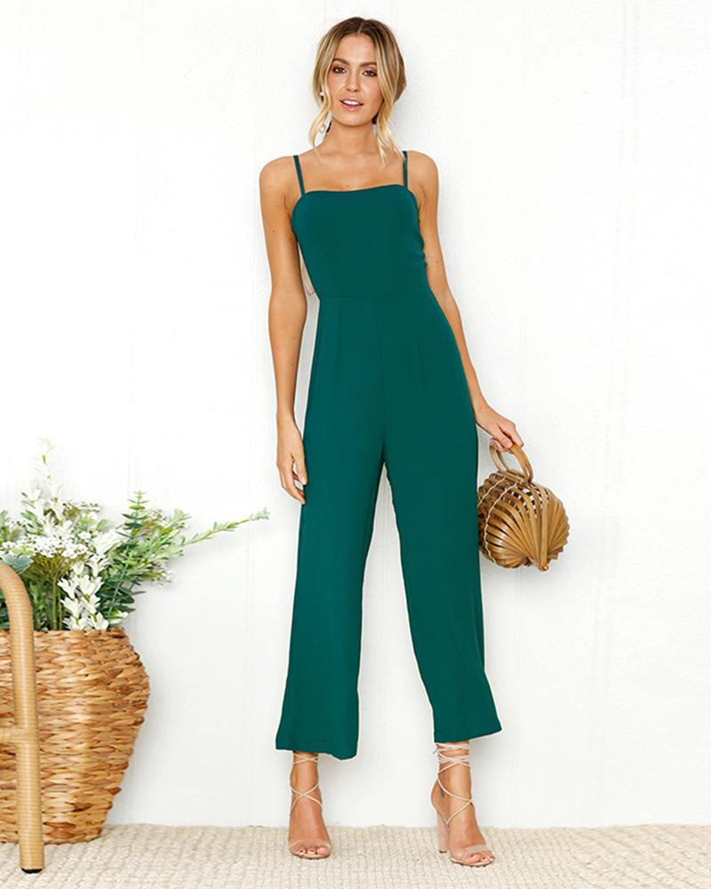 Exlura Sling Wrapped Chest Zipper Solid Jumpsuit