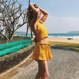 Backless Bow Tie Two-piece Holiday Beach Suit