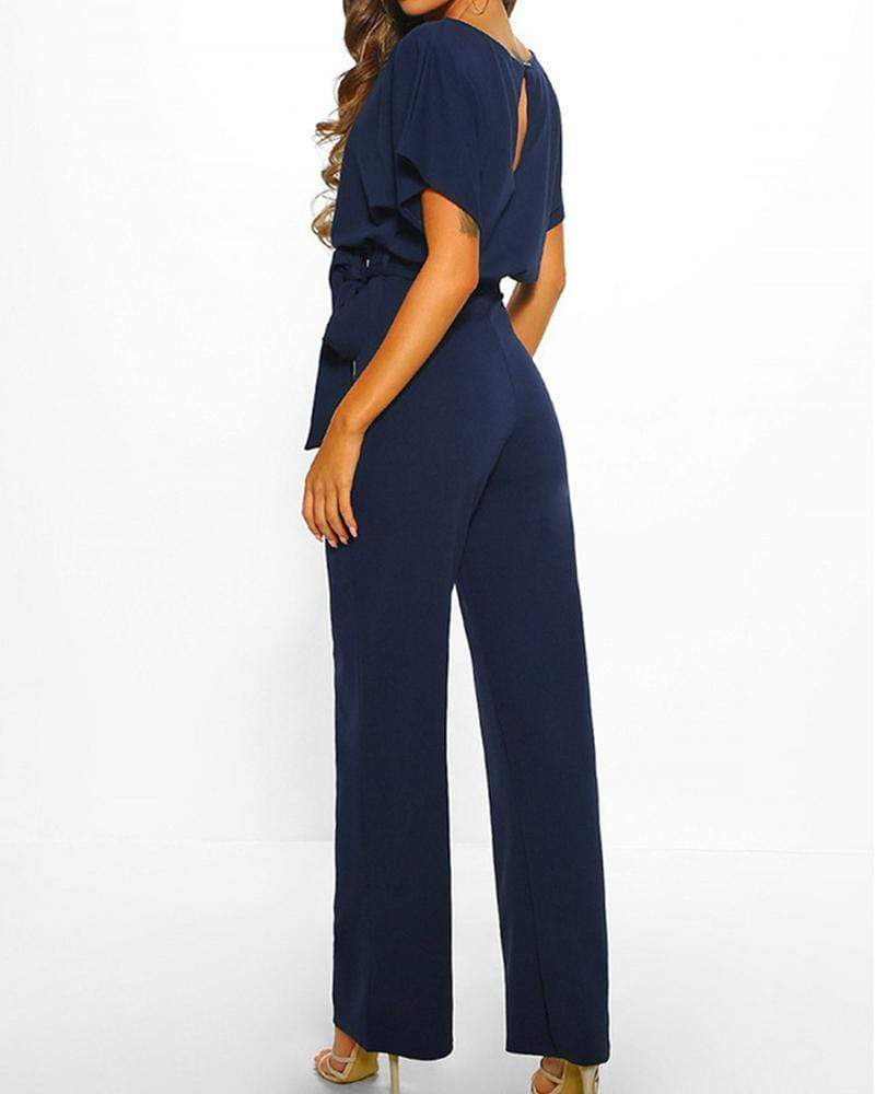 Exlura Lace Up Short Sleeve High Waist Wide Leg Blue Jumpsuits