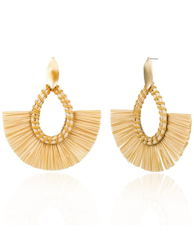 Ethnic Grass And Rattan Weaving Fan-shaped Earrings