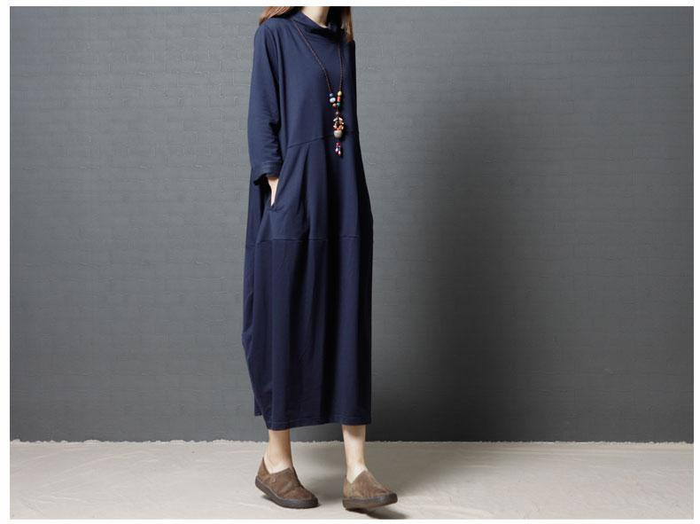 Loose Cotton Long Pocket Dress