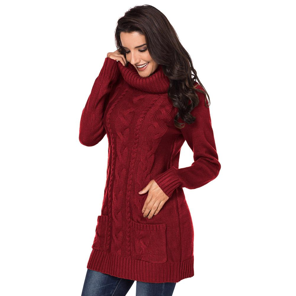 High Necked Knitted Sweaters Dress