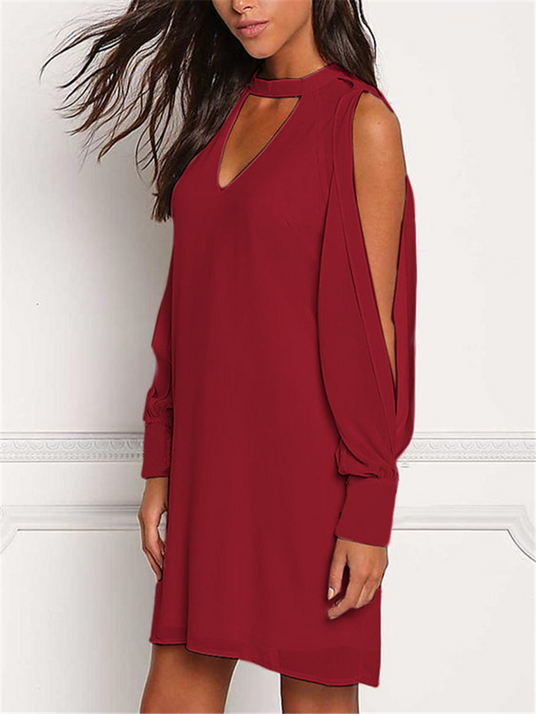 Off Shoulder V-neck Halter Backless Dress