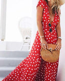 Bohemian Polka Dot Deep V-neck Split Dress