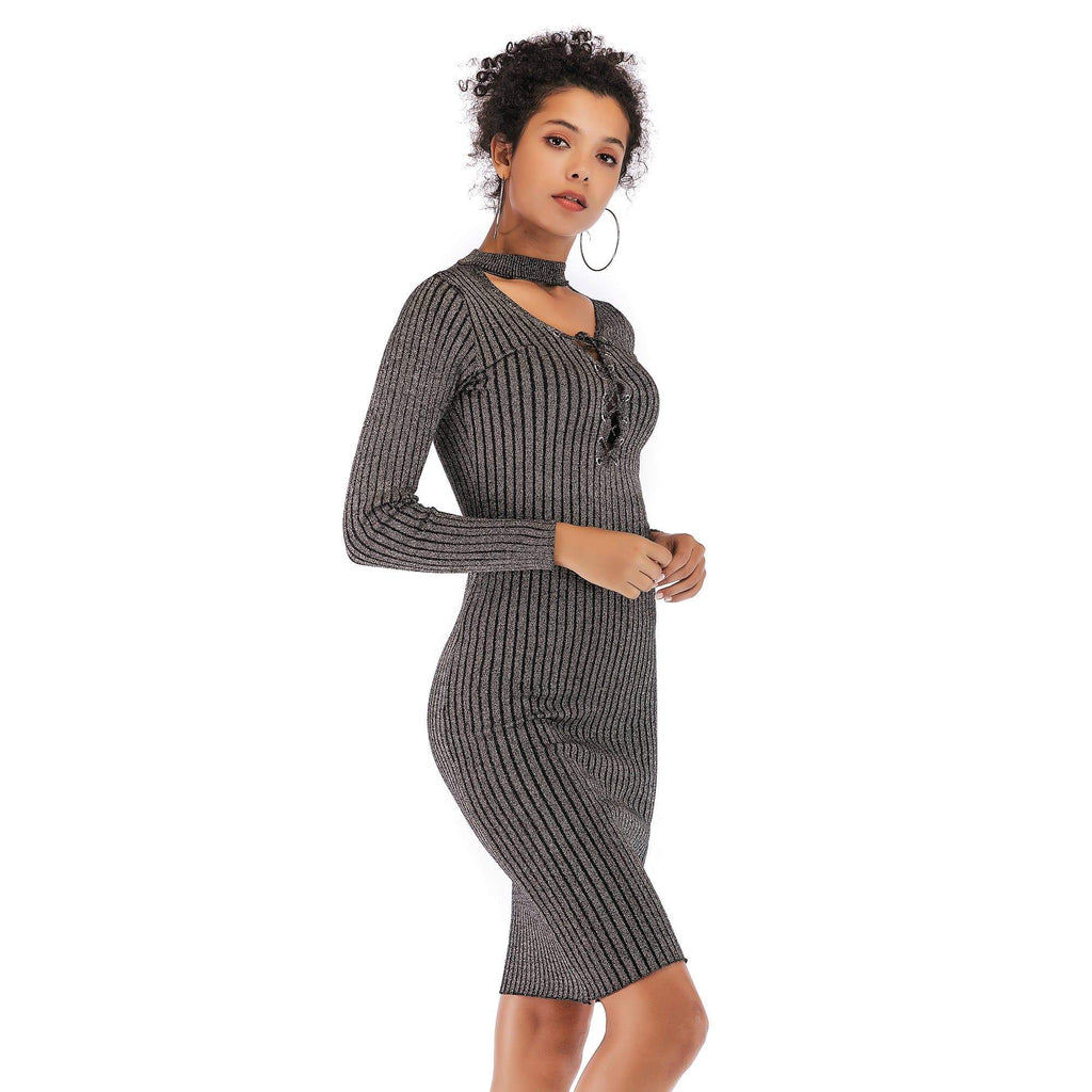 V-neck  Knit Bodycon Sweater Dress