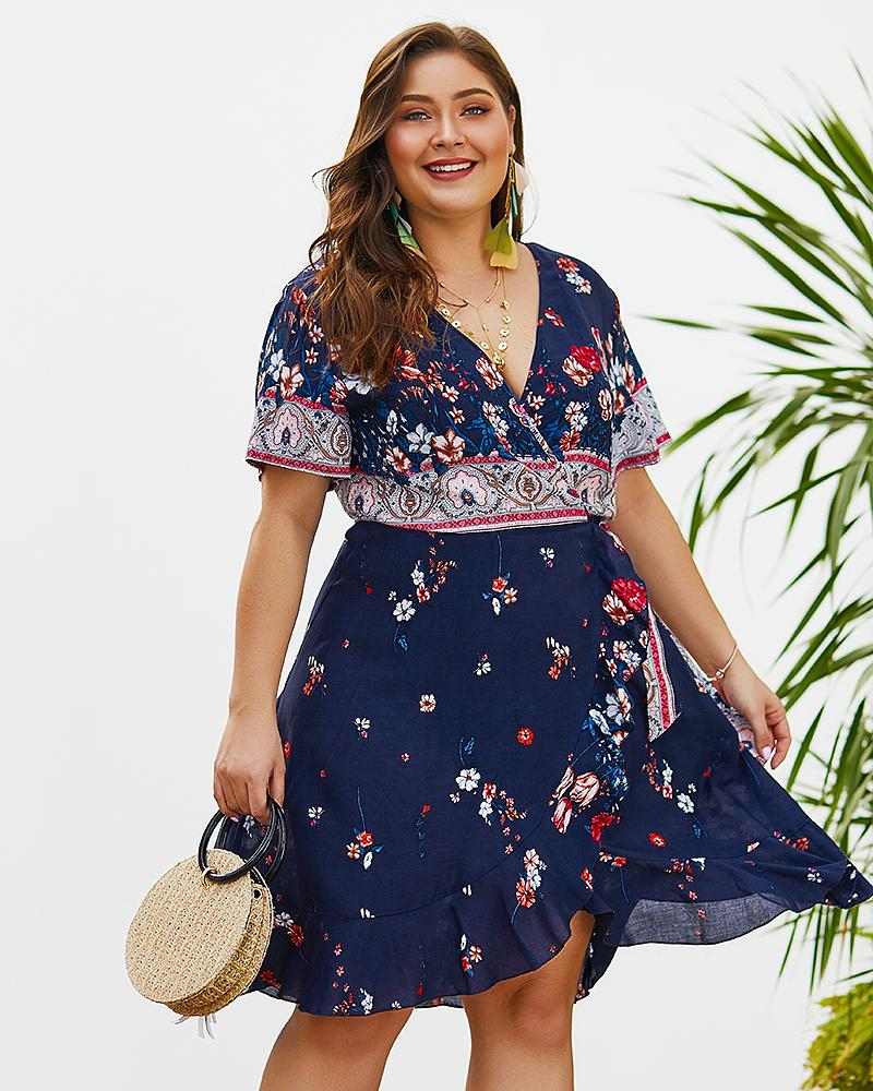 Bohemian V-neck Waist Floral Print Short Holiday Dress