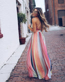 Cross Strap Open Back Bohemian Stripe Print Long Dress