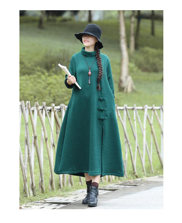Vintage Thick Ethnic  High Collar Button Coat