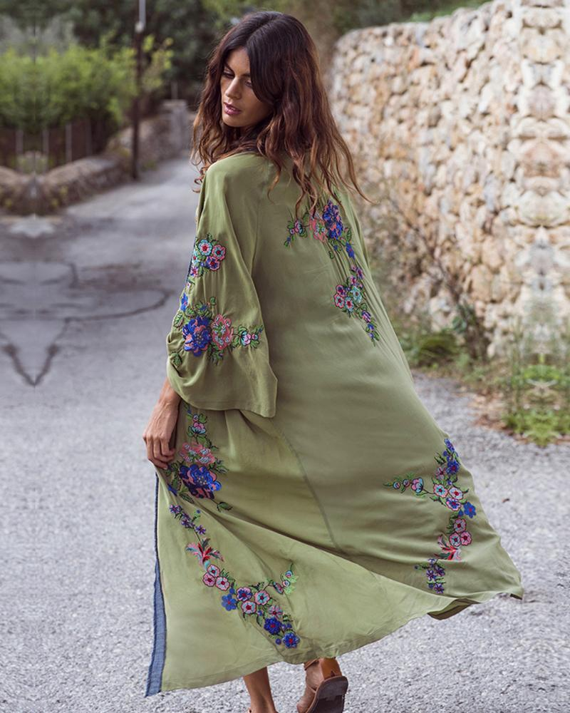 Embroidered Cardigan Long Skirt Dress