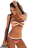 Women's Stripes Print Bikini Top