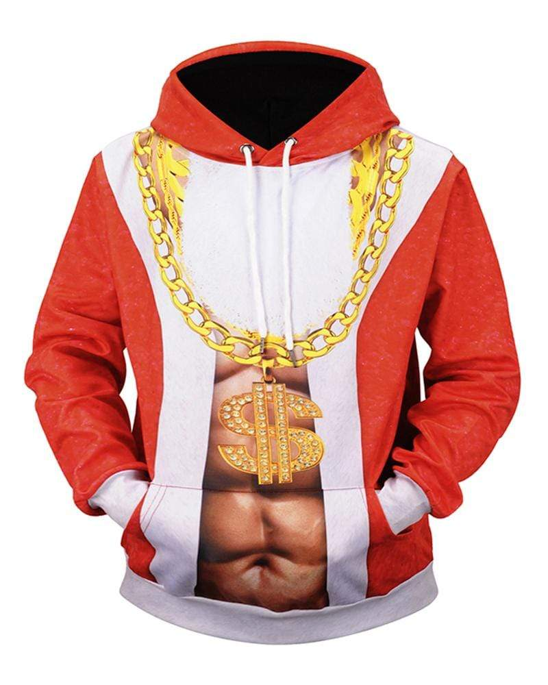 Exlura Muscle Print Christmas Hooded Pullover