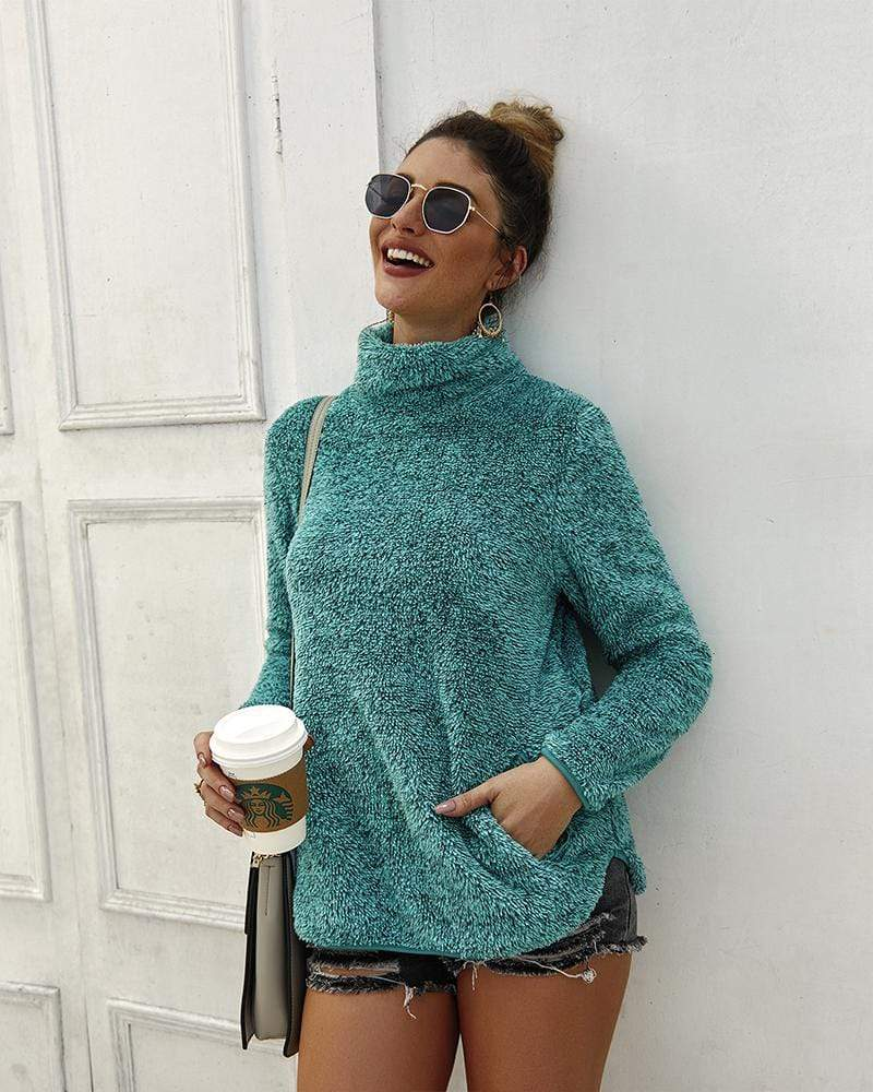 Exlura High Neck Solid Color Sweater With Pocket