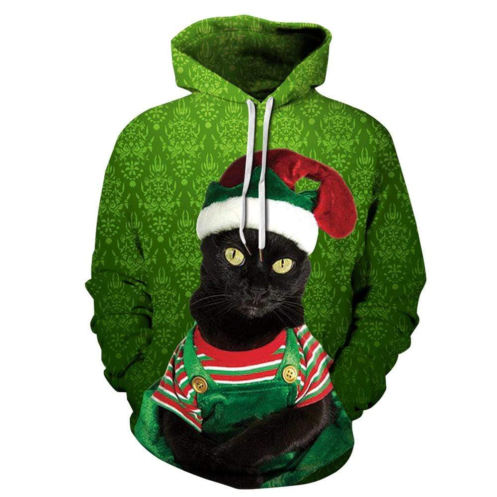 Exlura Unisex 3D Christams Cat Print Christmas Hooded Pullover