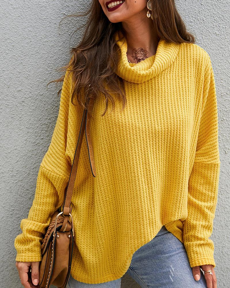 Exlura Waffle Knit Turtleneck Loose Pullover