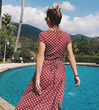 Polka-dot Chiffon Boho Holiday Dress