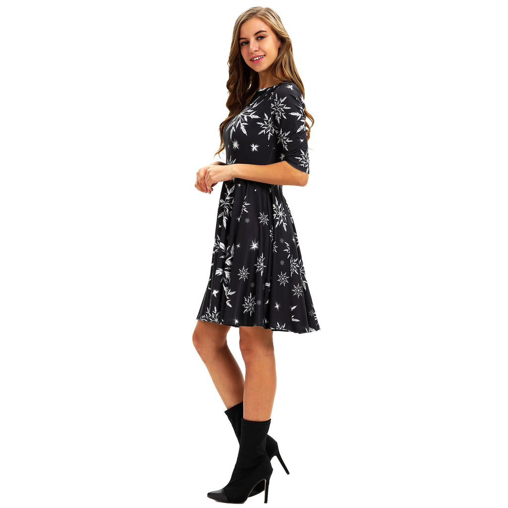 Christmas Floral  Dress with Half Sleeve