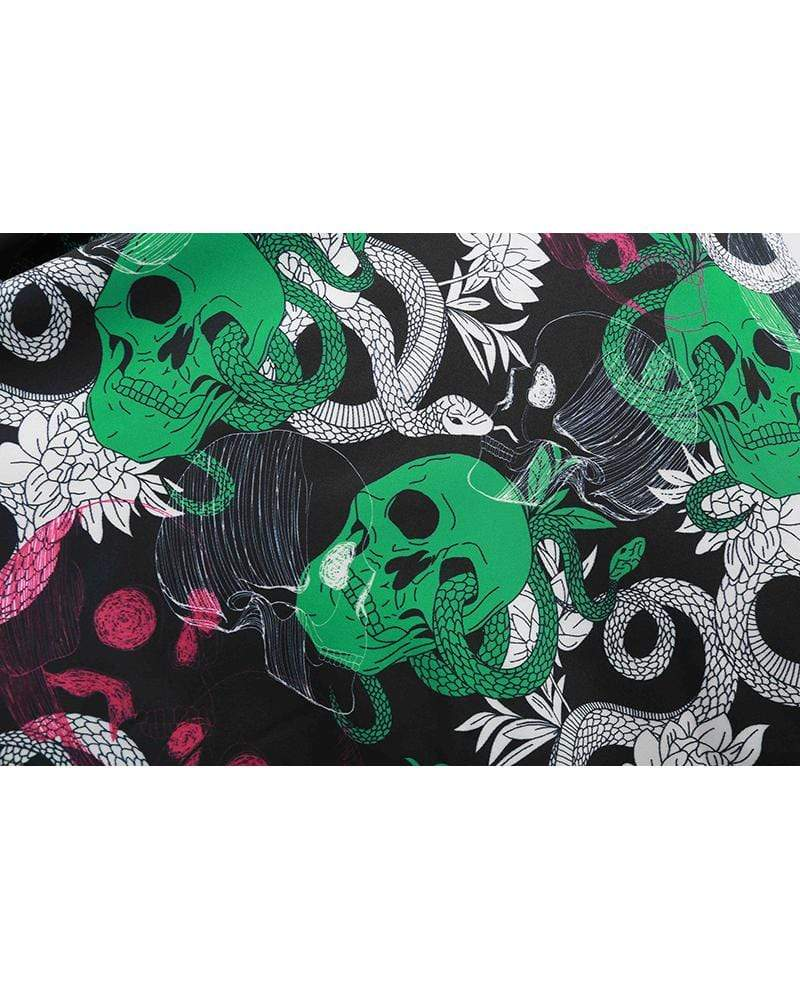 Exlura Halloween Long-sleeved Skull Print Large Swing Skirt