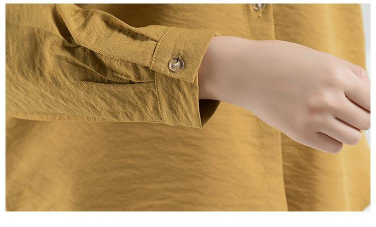 Cotton And Linen Stand collar Blouses