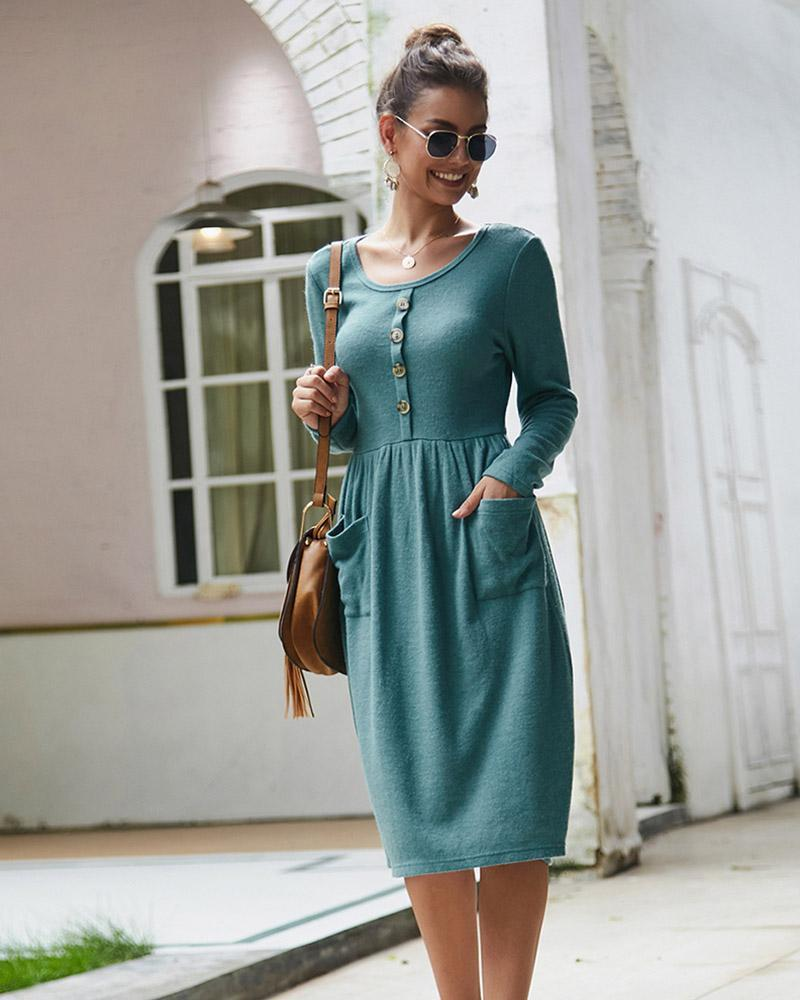 Exlura Button Pocket Slim Knit Long Sleeve Dress