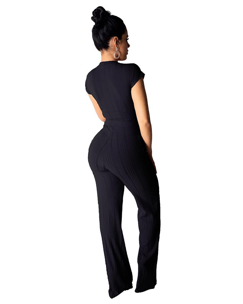 Two-piece Set Of Navel Casual Jumpsuit