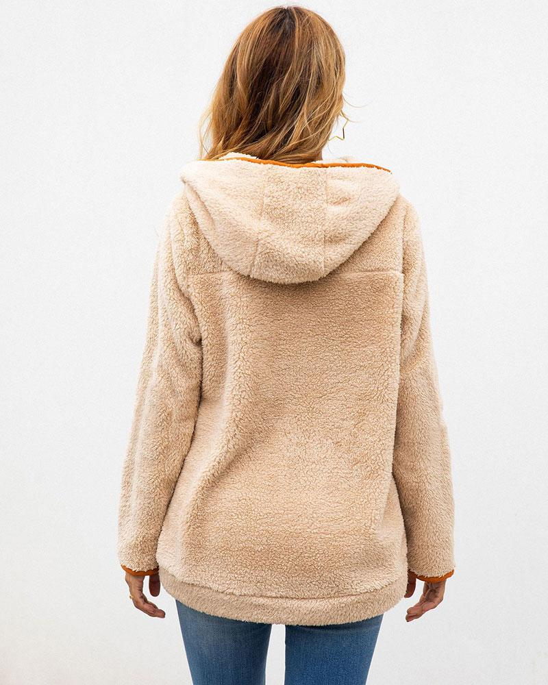 Stitching Pocket Hooded Woolen Coat
