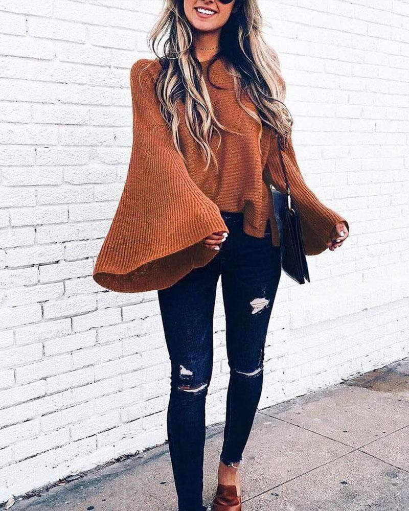 Exlura Knit Bell Sleeve Loose Bat Pullover Sweater