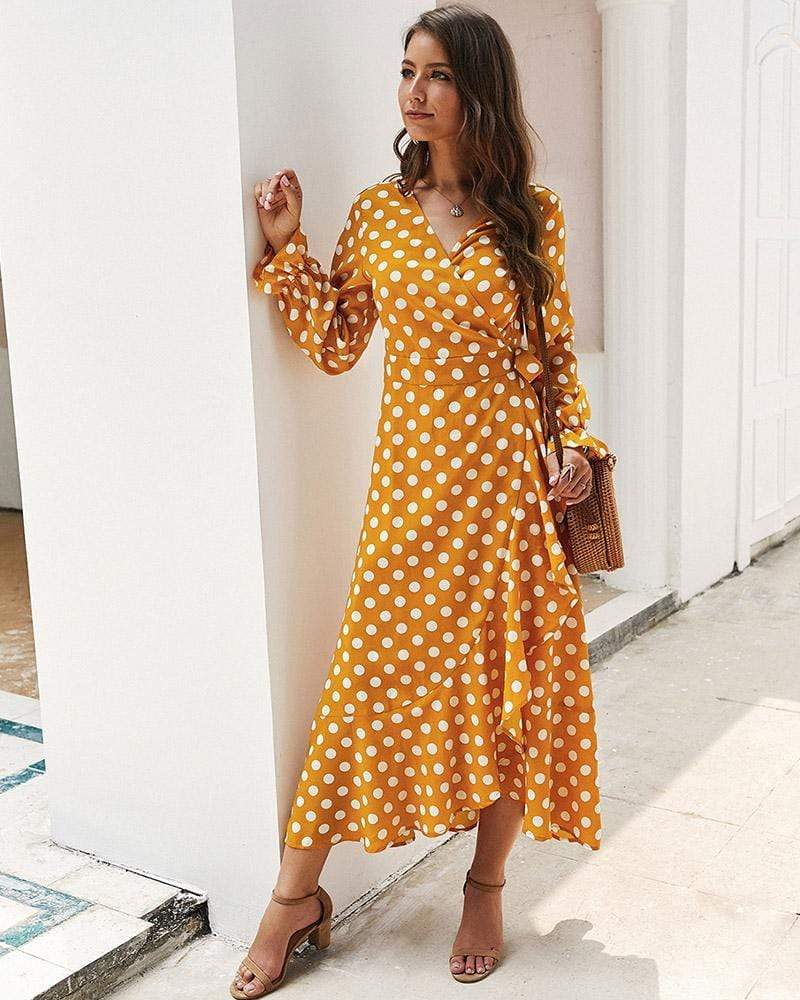 Exlura Polka-dot Micro Bell Sleeve With Irregular Hem Dress