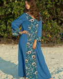 Bohemia Flower Printed  Vacation Long Sleeve Dress