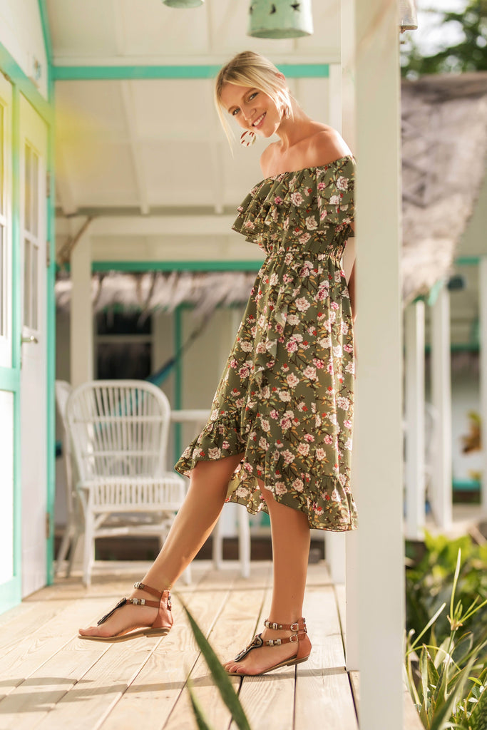 Off Shoulder Backless Floral Print Long Dress