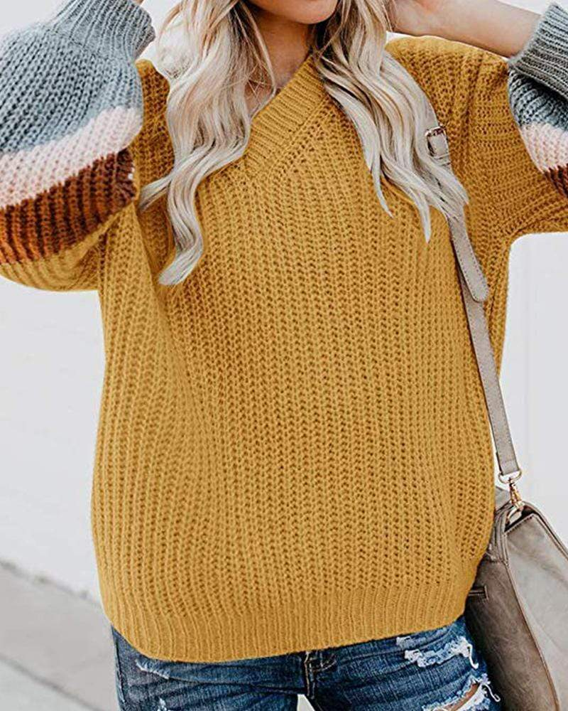 Exlura Color Block Chunky Lantern Sleeve Sweater