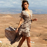 Leopard Print V-neck Tie Irregular Chiffon Holiday Dress