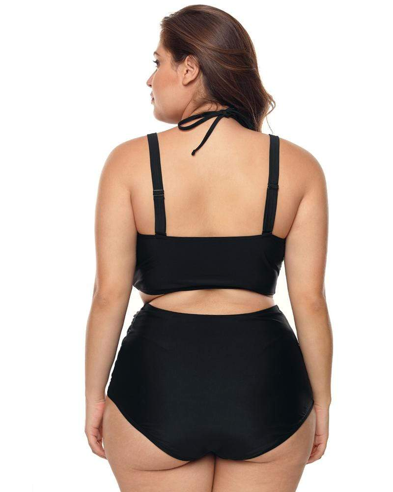 Mesh Stitching Two Piece Grecian Swimsuits