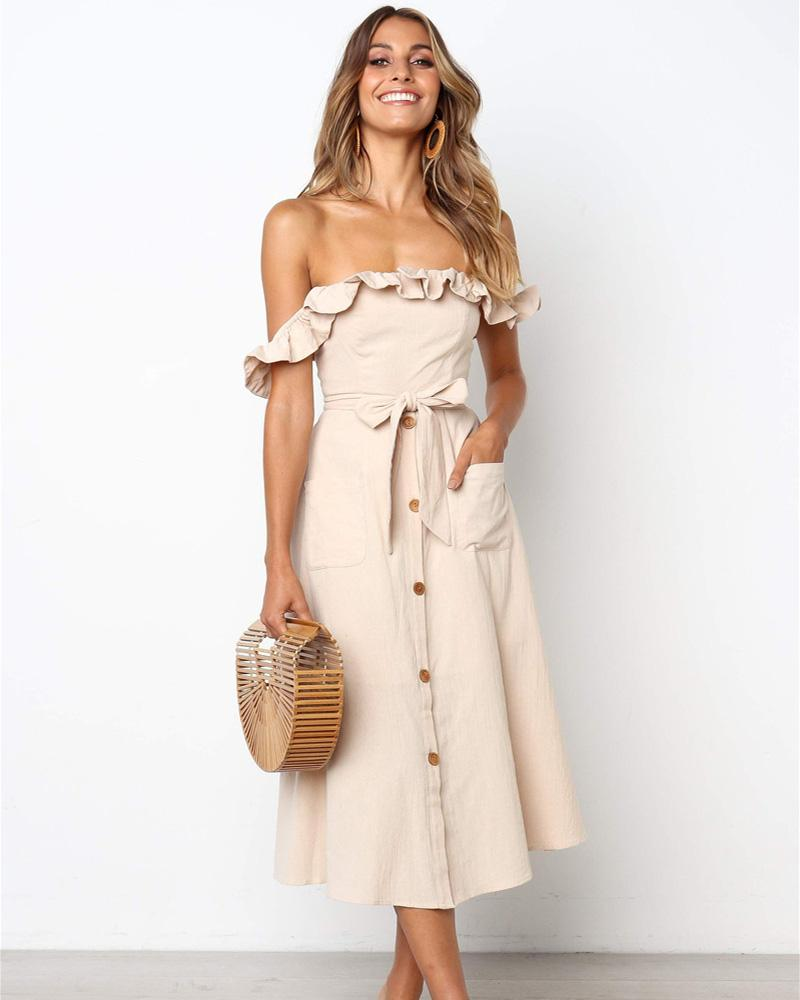 Ruffle Off Shoulder Tie Waist  Button Sundress