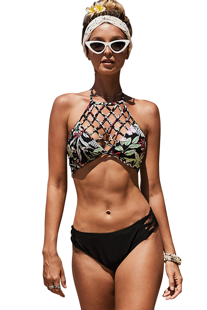 Halter Hollow Floral Print Bikini Set