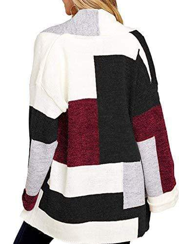 Open Front Color Block Baggy Knit Cardigans