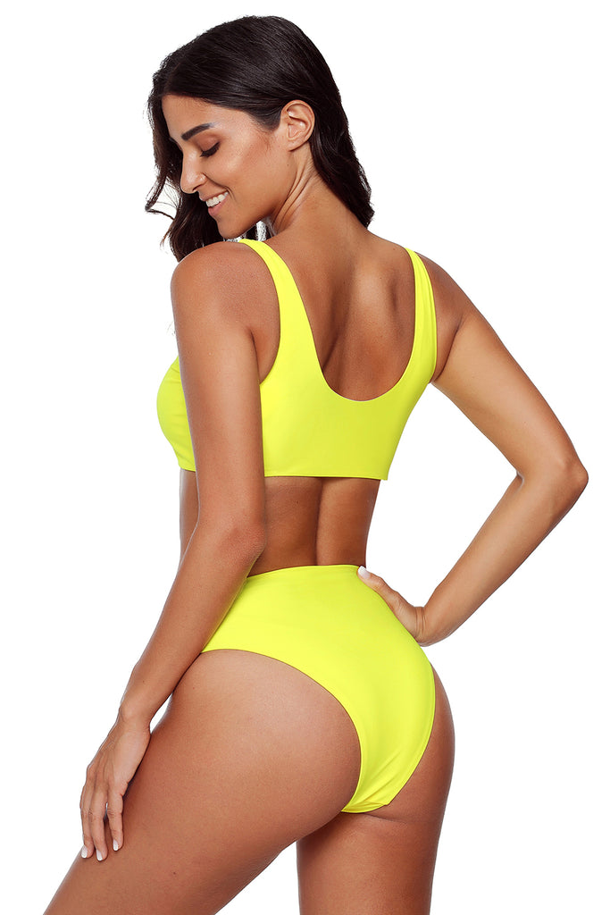 Zipper Solid Color Sport Bikini Set