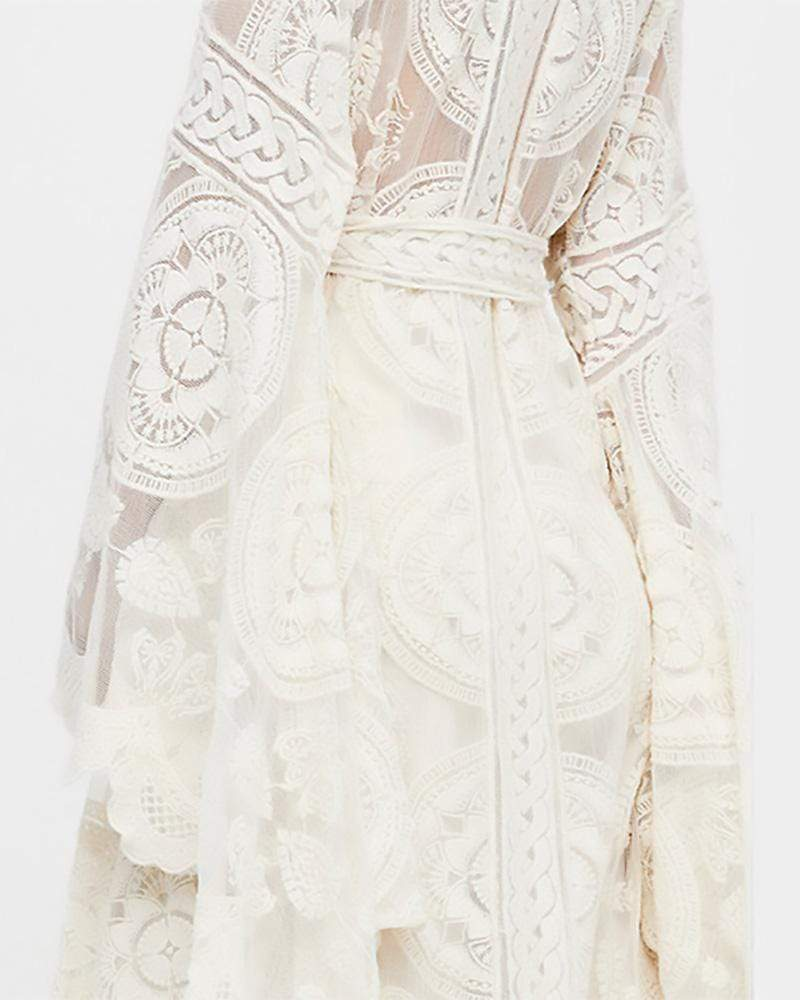 Bohemian Asymmetry Lace White Color Holiday Cardigan