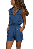 Zip V-neck Pocket Shorts Solid Color Jumpsuit