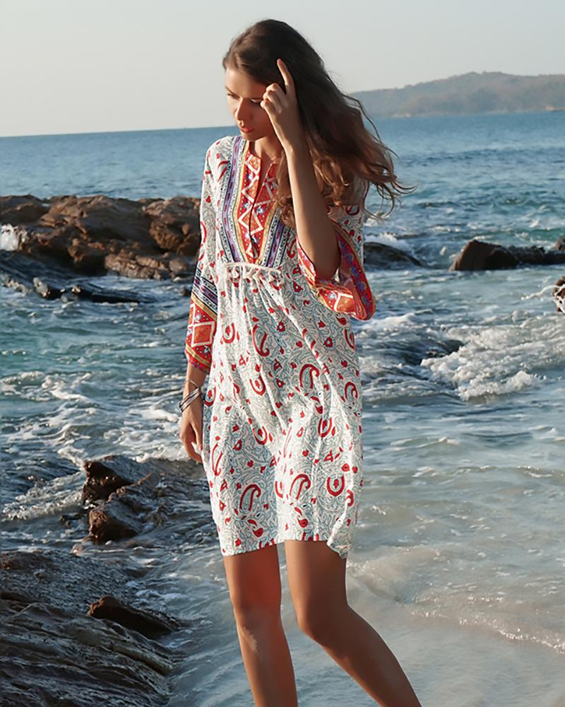 V-neck Loose Ethnic Floral Print Dress