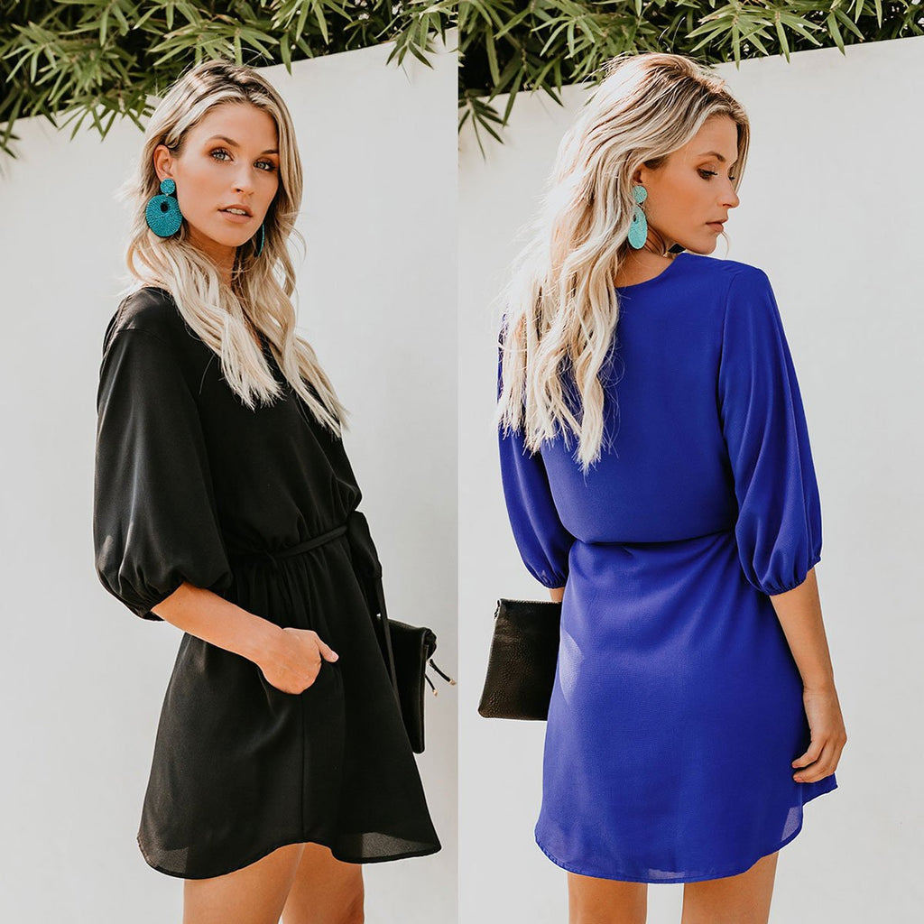 V-neck Stretch Waist Tie Puff Sleeve Mini Dress with Pocket - Exlura